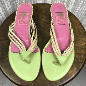 Lilly Pulitzer Green Braided Kitten Heel Sandals